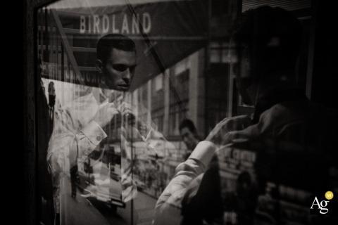 Gelderland wedding portrait of reflections with groom