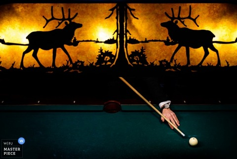 Burlington groom playing pool - Vermont wedding photography