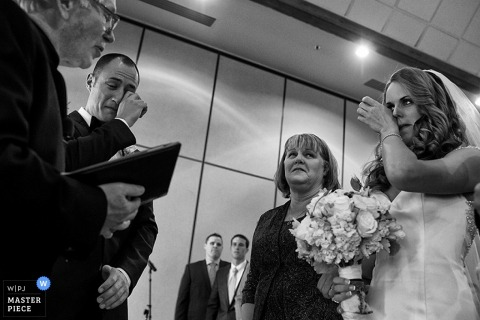 Lake Tahoe bride and groom getting emotional during the ceremony - California wedding photography