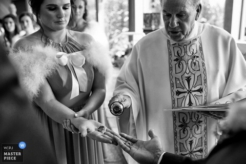 Lake Tahoe bride and priest during the ceremony at the Church - California wedding photo
