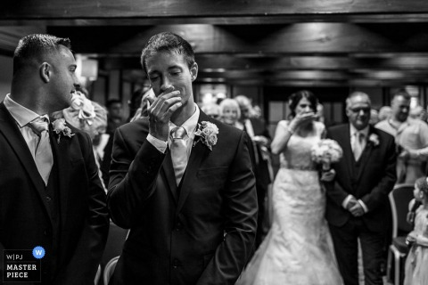 Derbyshire groom can't believe himself when he sees brides dress at ceremony - East Midlands wedding photo