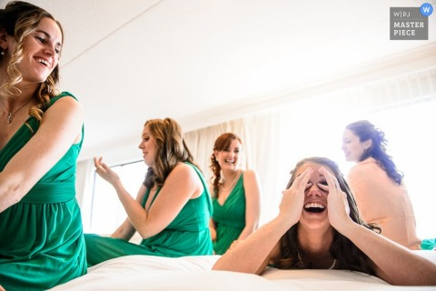 Atlantic City bridesmaids and bride laugh before the wedding - New Jersey wedding photography