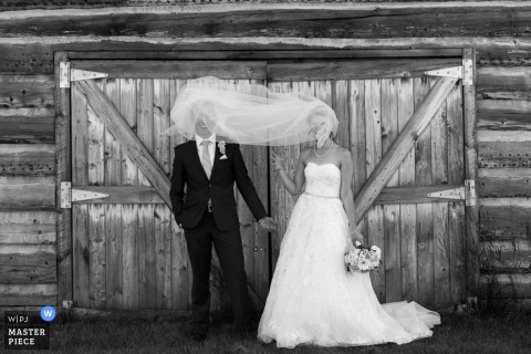 A bride's veil blows in front of the groom's face in this black and white portrait composed by an Alberta, Canada wedding photographer.