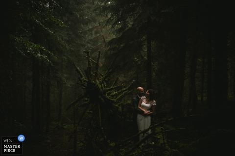Zdjęcie panny młodej i pana młodego w słabo oświetlonym lesie przez fotografa ślubnego Francji.