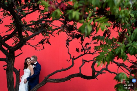 Photo of the groom kissing his bride taken through tree branches against a red wall by a Lake Tahoe, CA wedding photographer.
