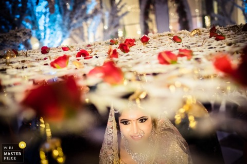 The bride walks beneath netting topped with red roses in this photo by a Goa, India wedding photographer.