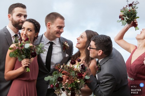 San Francisco wedding photographer created this humorous portrait of the bridal party being silly and having fun.