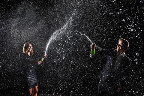 Bride and Groom Popping Bottles | Denver Engagement | J. La Plante Photo