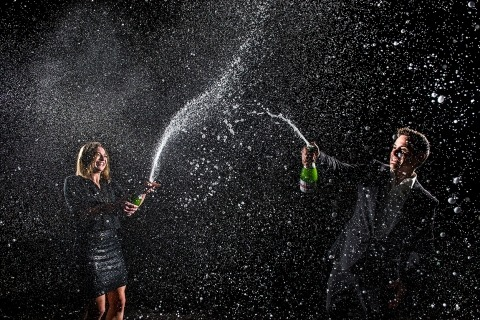 Bride and Groom Popping Bottles | Denver Engagement | J. La Plante Photo