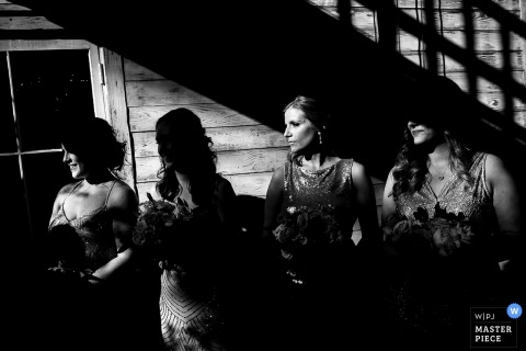 This black and white photo of the bridal party watching the ceremony while cast in shadows was captured by a Boulder wedding photographer
