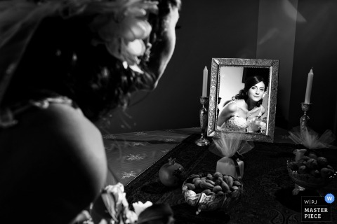 Montreal wedding photographer captured the brides mirror reflection in this black and white photo