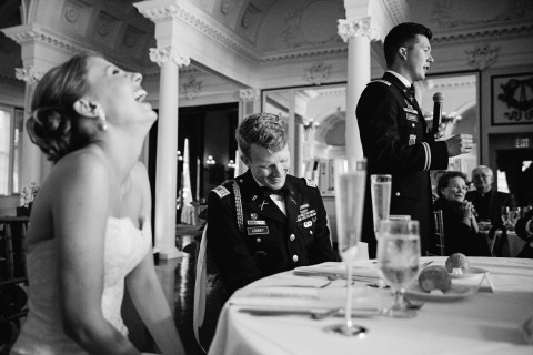New York Wedding Photographer Tracey Buyce captures the moments at the reception of a military wedding with the bride and groom.