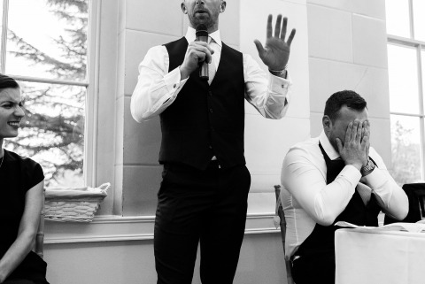 Nottinghamshire Wedding Photographer Martin Makowski is prepared to document the speech moments at a reception.