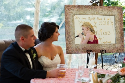 Maine Wedding Photographer Kate Crabtree makes creative reception photos during the speeches.