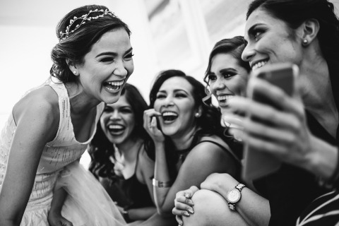 Baja California, Mexico Destination Wedding Photographer Dennis Berti loves to work with the bride and her bridesmaids before the ceremony.