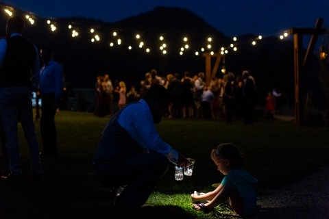 Montana Wedding Photographer David Clumpner likes outdoor wedding receptions at night under lights.