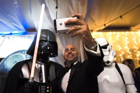 Star Wars groom photo by Wedding Photographer Dimitri Voronov of Girona, Spain