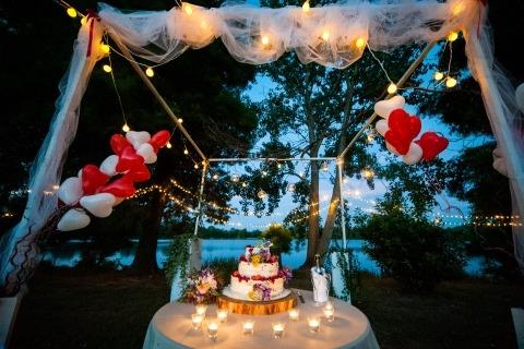 El fotógrafo documental de bodas de Italia, Alessandro Di Noia, de Brescia, creó esta hermosa foto de detalle de pastel.