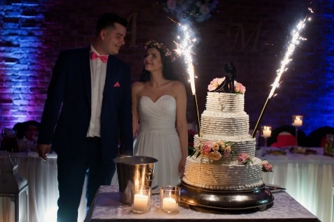 Poland Wedding Photographer Wojciech Marzec created this image of a bride and groom with their wedding cake and fireworks on it