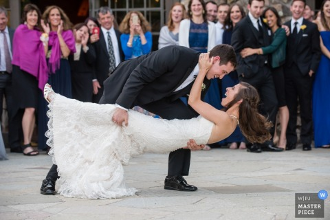 Santa Barbara wedding photographer captured the brides surprise as the groom dipped her during their first dance