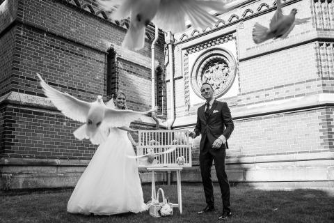 Nikita Kret di Amburgo, in Germania, ha fotografato questa sposa e lo sposo liberando colombe dopo la loro cerimonia di matrimonio in chiesa