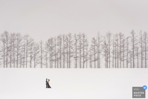 Photo of the bride and groom standing far away in a snow-covered field with bare trees behind them by a Taipei, Taiwan wedding photographer.