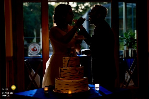 The bride and groom are in shadow as they feed each other a piece of cake in this photo by a Chicago, IL wedding photographer.