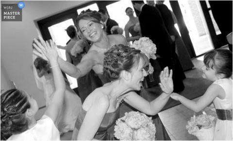 High fives all around for the bridal party girls
