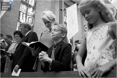 Children at the indoor Church wedding in Texas