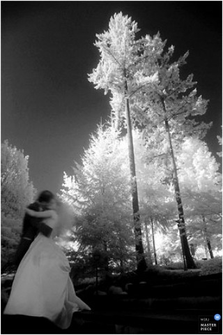 infrared image with bride and groom kissing under trees