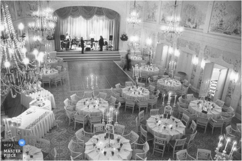 wedding reception tables as viewed from above in this picture