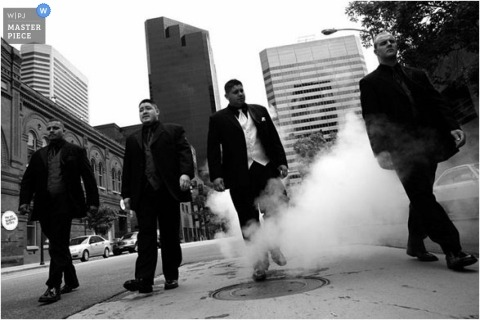 SC Wedding Photographer created this urban/city portrait of the groom and his groomsmen