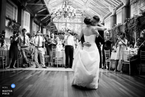 New York City couple dancing during their reception
