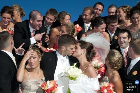 Portland-ME bride groom kissing portrait bridesmaids groomsmen