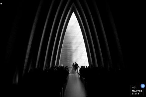 New York City Wedding Photojournalism | Image contains: church black white ceremony bride groom