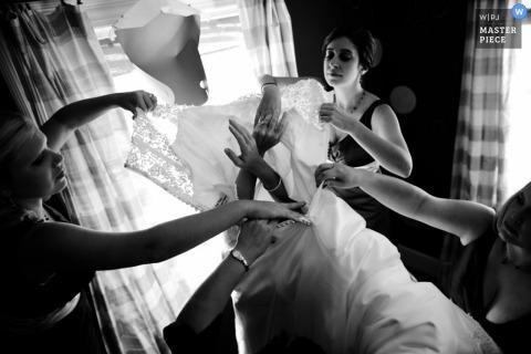 North Carolina bride getting ready black white dress bridesmaids