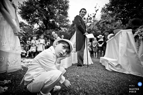 Milan Wedding Photography | Image contains: Black white reception kids boy guests
