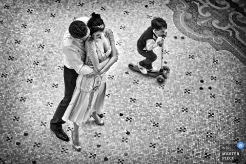 Milan Wedding Photography | Image contains: Lombardy bride groom hug portrait black white kid children