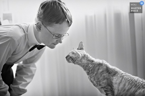 Documentary Wedding Photographer | Image contains: boy tux bow tie cat getting ready black white