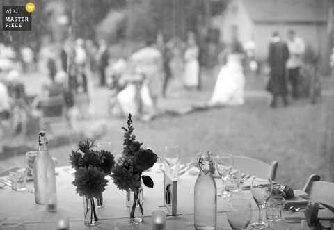New South Wales, Australia Wedding Photography | Image contains: reception detail glasses table guests bride