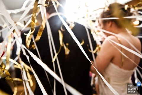 Baltimore Wedding Photographer | Image contains: detail gold stringers bride groom reception