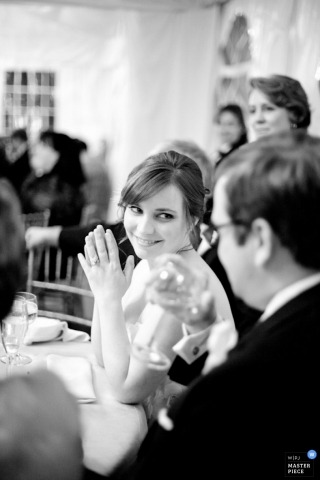 Baltimore Wedding Photographer | Image contains: MD bride groom vert toast reception black white
