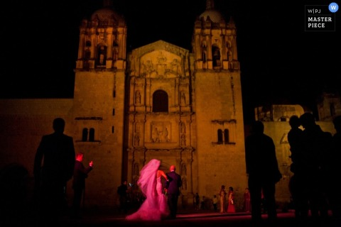 San Diego Wedding Photography | Image contains: bride father approaching church night wedding ceremony