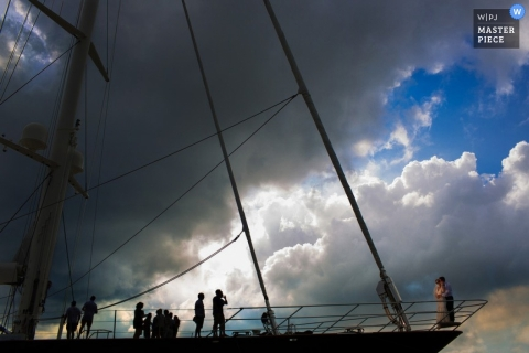 San Diego Documentary Wedding Photographer | Image contains: tall ship wedding portrait session sky clouds