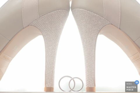 Taipei wedding photographer captured this artistic photo of the bridal set resting in between the brides heels