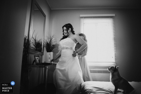 Wedding photograph from Montreal | Image contains: dog, bed, bride, black, white, getting ready, dress, mirror