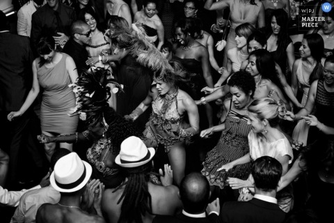 Montreal Wedding Photography | Image contains: reception, black, white, wedding guests, dancing