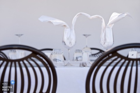 Documentary Wedding Photography in Krakow | Image contains: detail, glasses, napkins, chairs, table, color
