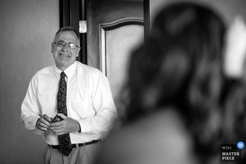 Wedding Photographer in Chicago | Image contains: father, bride, getting ready, black, white, indoors