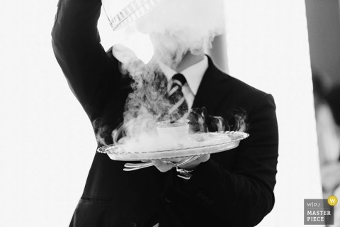 Tokyo Wedding Photographer Image contains: food, steam, man, black, white, indoors